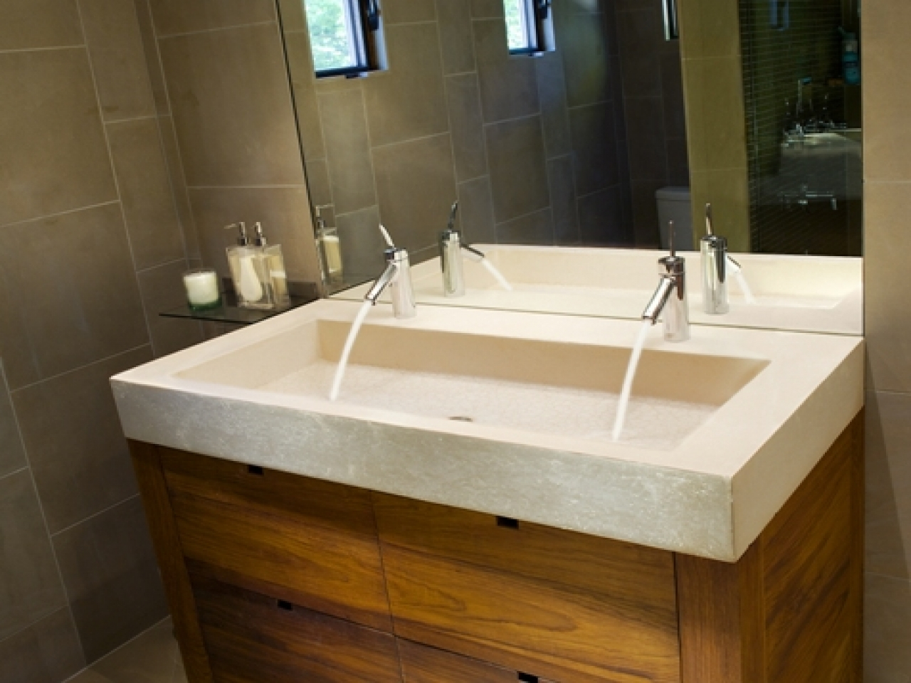 large single bathroom sink with two faucets • faucet ideas