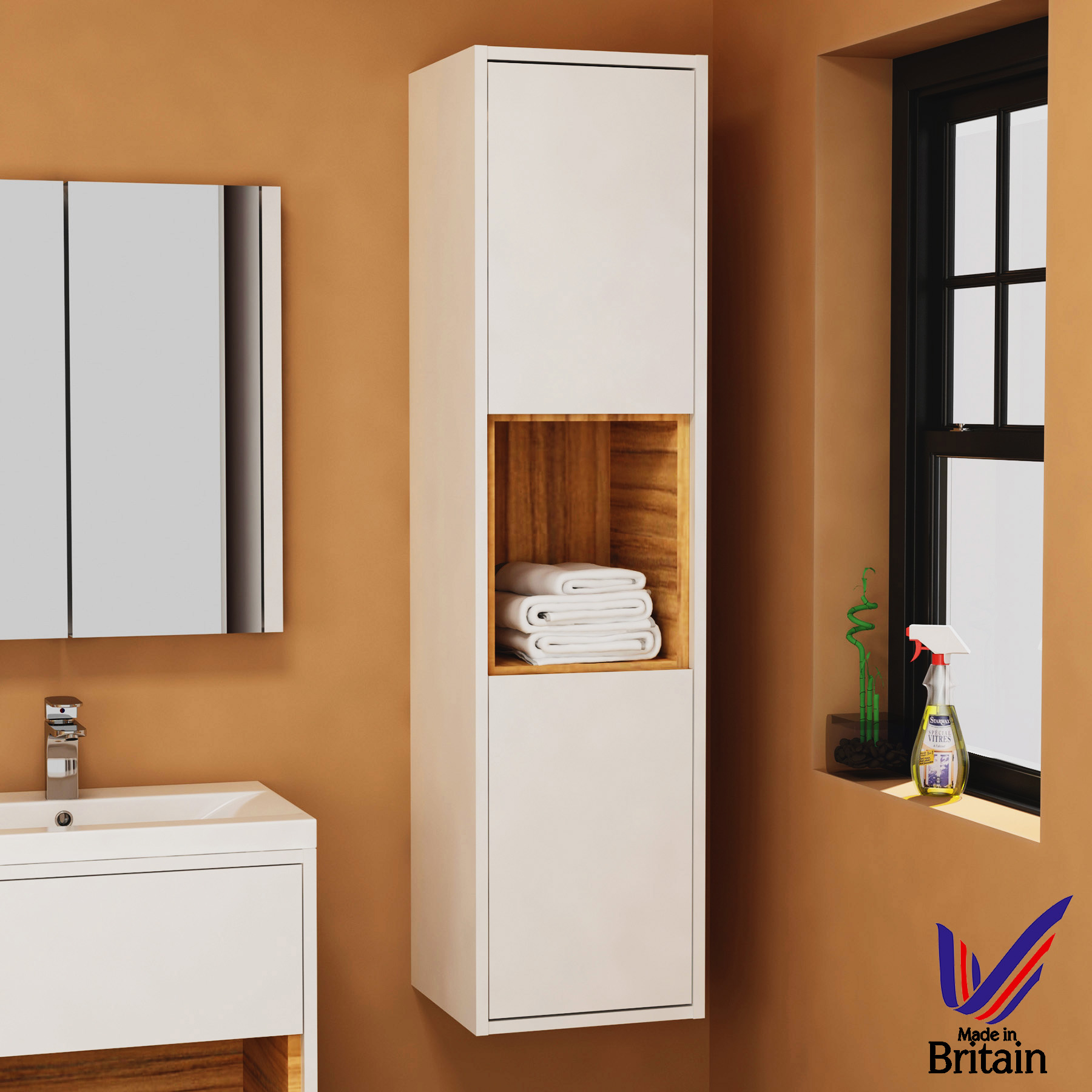 1400mm Tall Boy Unit 2 Doors Bathroom Furniture Cabinet Storage throughout proportions 1800 X 1800
