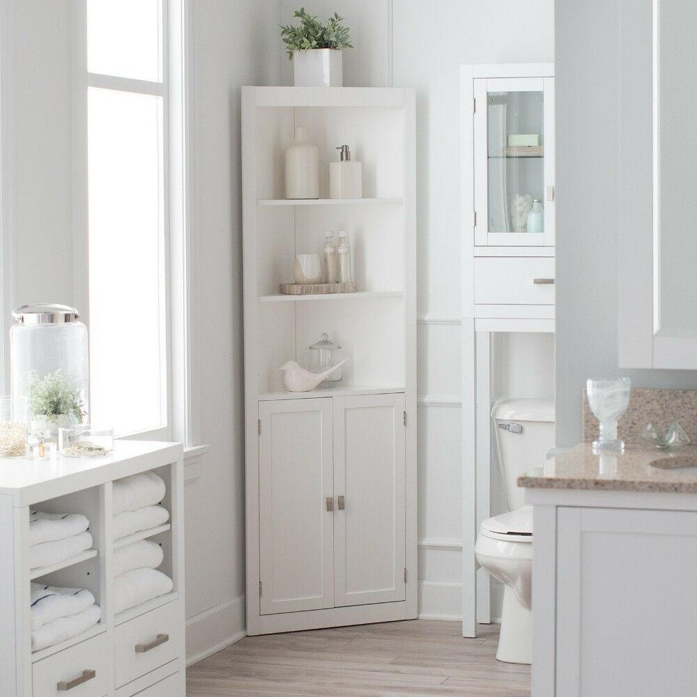 3 Shelf Corner White Linen Tower Cabinet Home Living Bathroom for dimensions 1000 X 1000