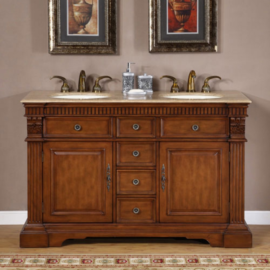 55 Inch Furniture Style Double Sink Bathroom Vanity within size 900 X 900