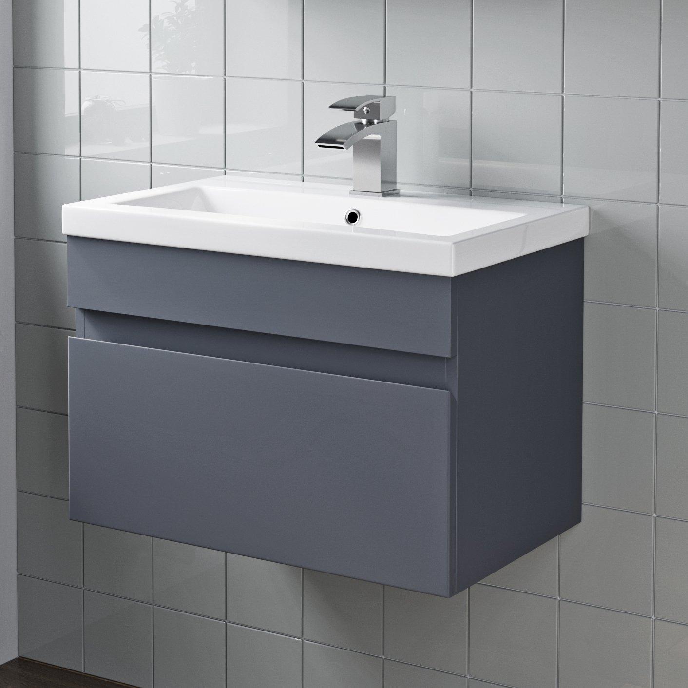 Grey Gloss Bathroom Furniture Faucet