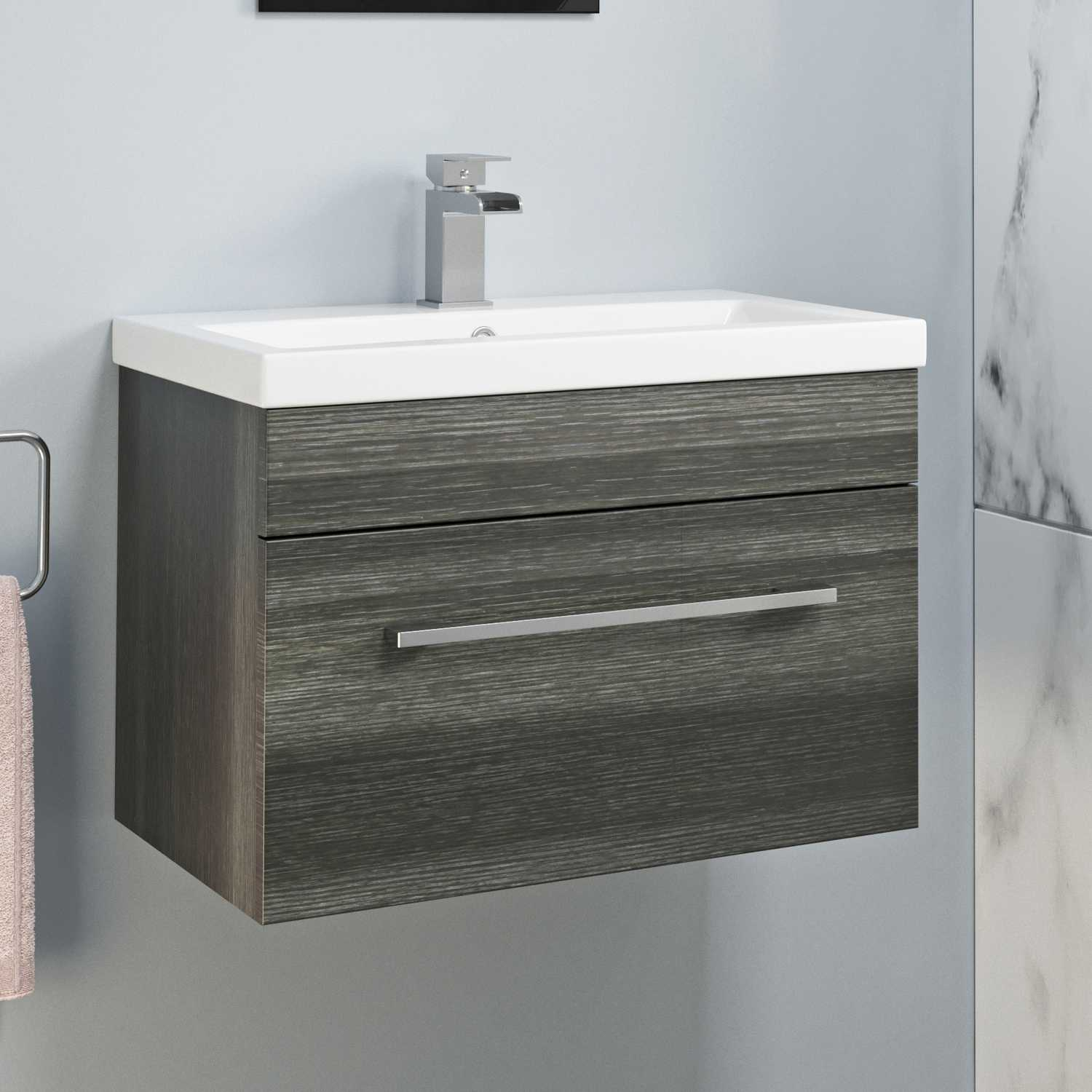 600mm Bathroom Wall Hung Vanity Unit Basin Storage Cabinet Furniture inside proportions 1500 X 1500
