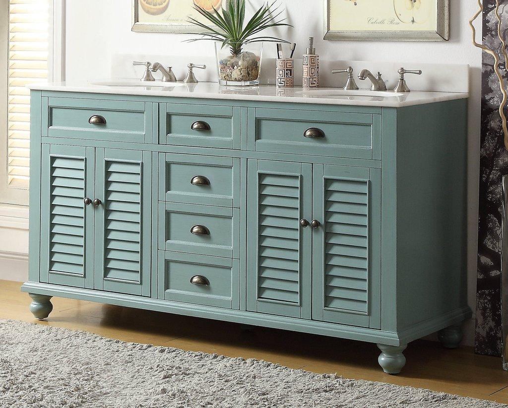 62 Vantage Blue Cottage Look Double Sink Glennville Bathroom Sink Vanity Model Gd 21888bu in sizing 1024 X 822