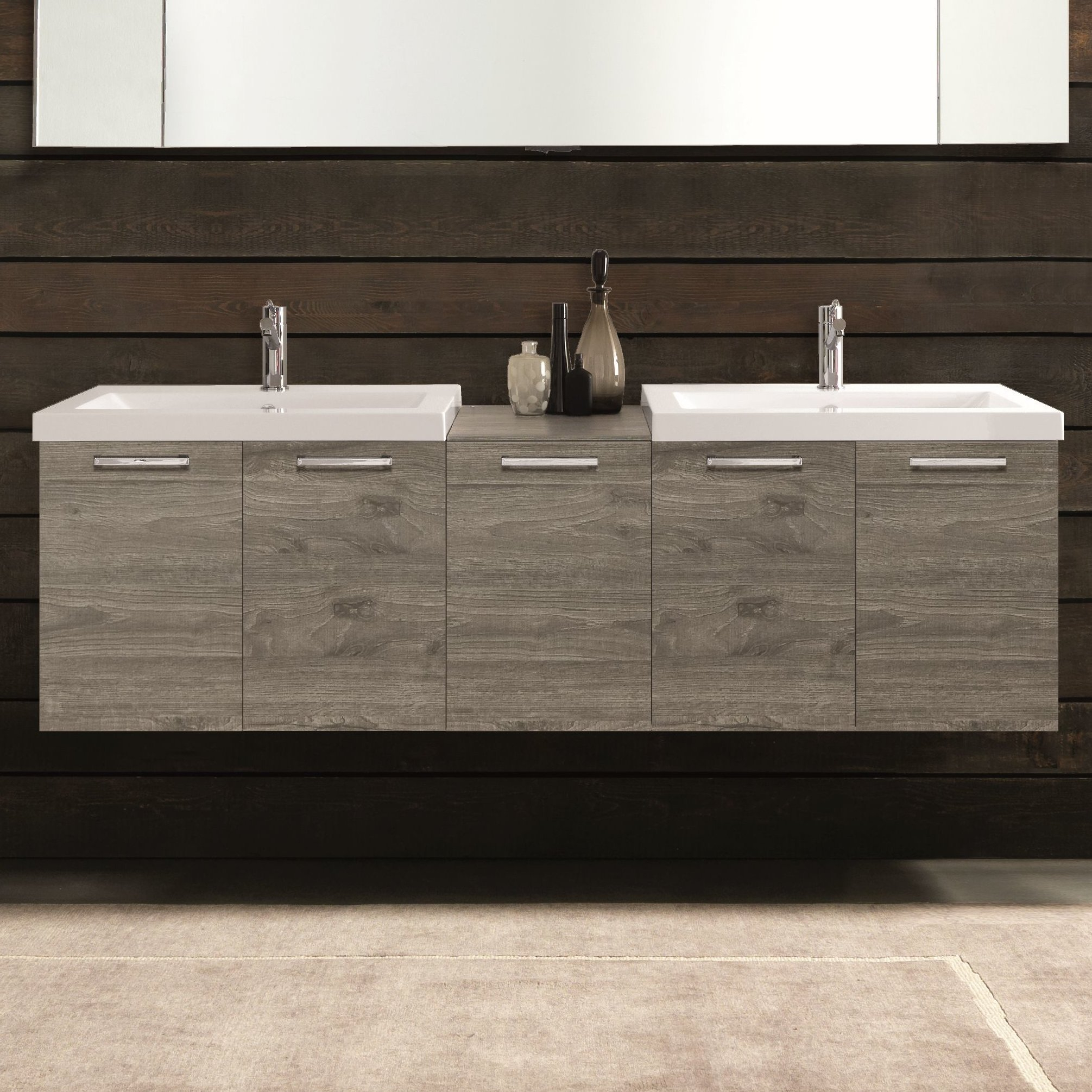 Acquaviva 69 Double Modern Bathroom Vanity Set Wayfair intended for proportions 2011 X 2011