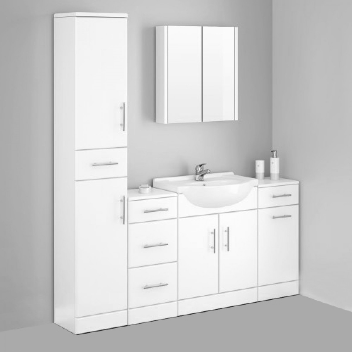 Alaska Bathroom Furniture Pack 5 Piece White Gloss with regard to proportions 1200 X 1200