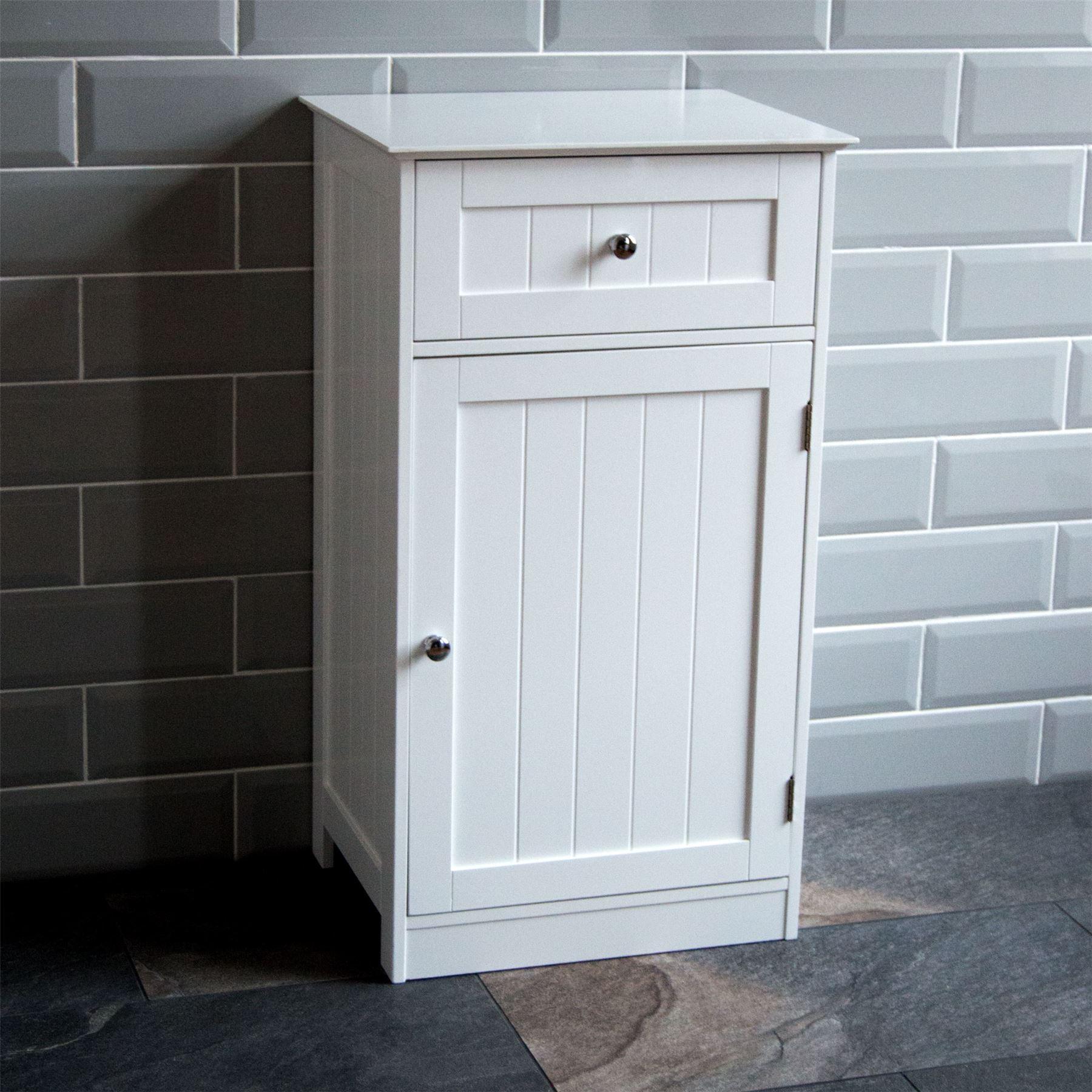 Bathroom Cabinet 1 Door 1 Drawer Freestanding Storage Unit Wood inside sizing 1800 X 1800