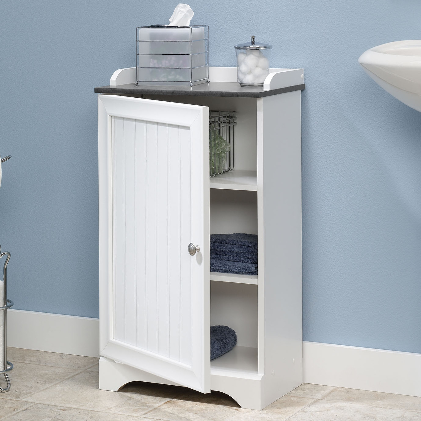 Bathroom Floor Cabinet With Adjustable Shelves In White Finish pertaining to measurements 1379 X 1379