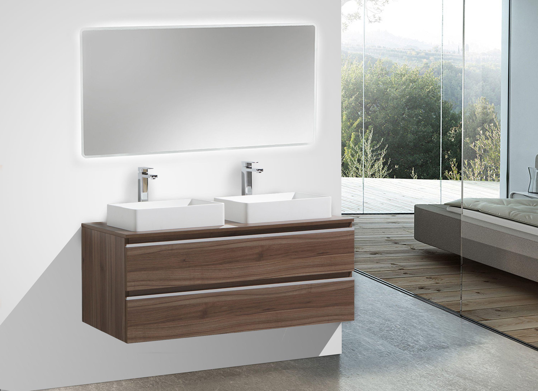 Bathroom Furniture Set Delia 1200 Dark Walnut Mirror Selectable pertaining to proportions 3000 X 2179