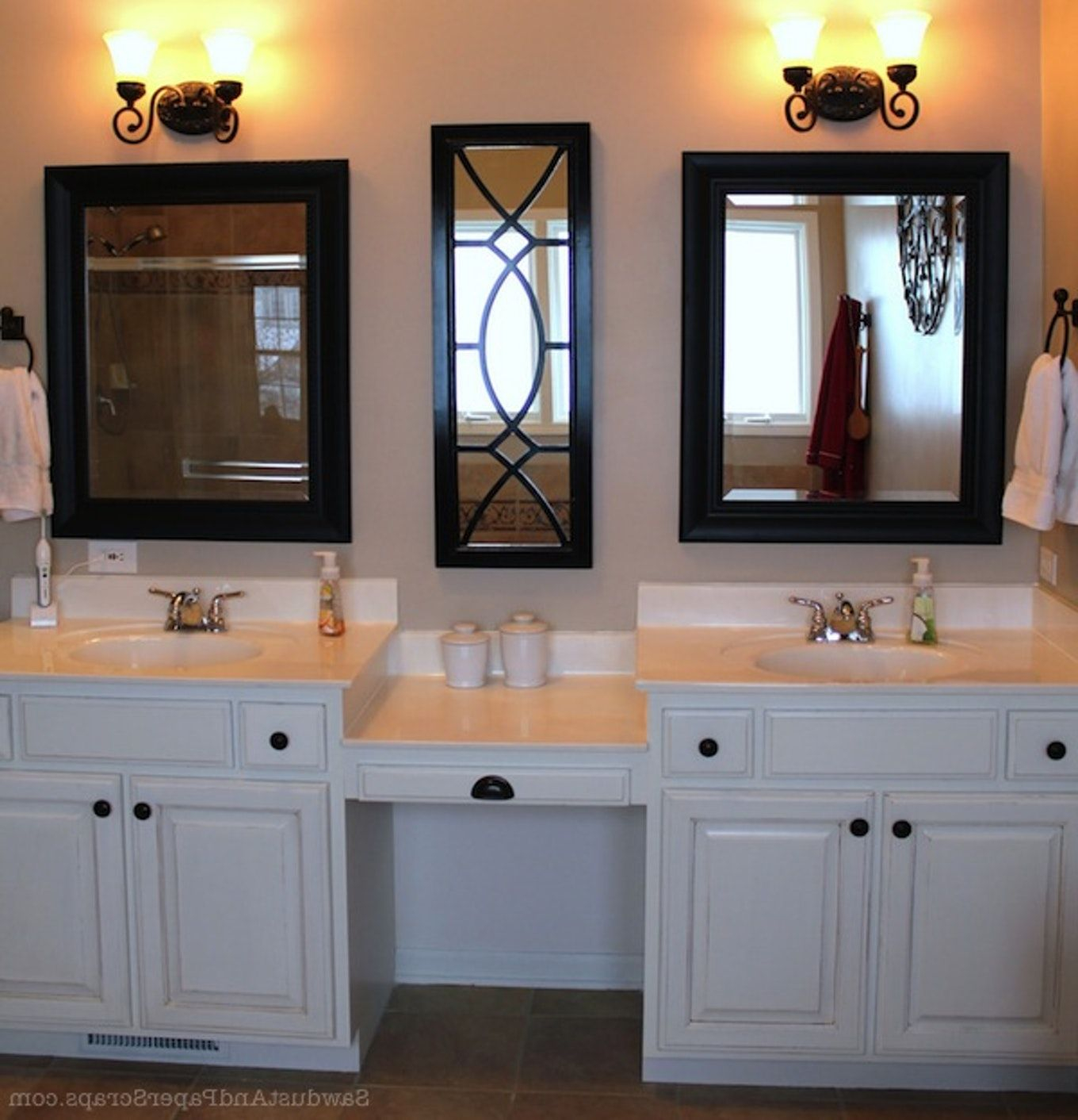Bathroom Vanitieswonderful Master Bath With Makeup Area Double Sink with measurements 1360 X 1412