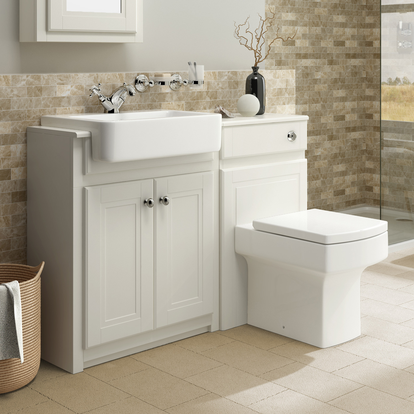 Clotted Cream Bathroom Mirror Storage Vanity Units With Basin throughout proportions 1400 X 1400