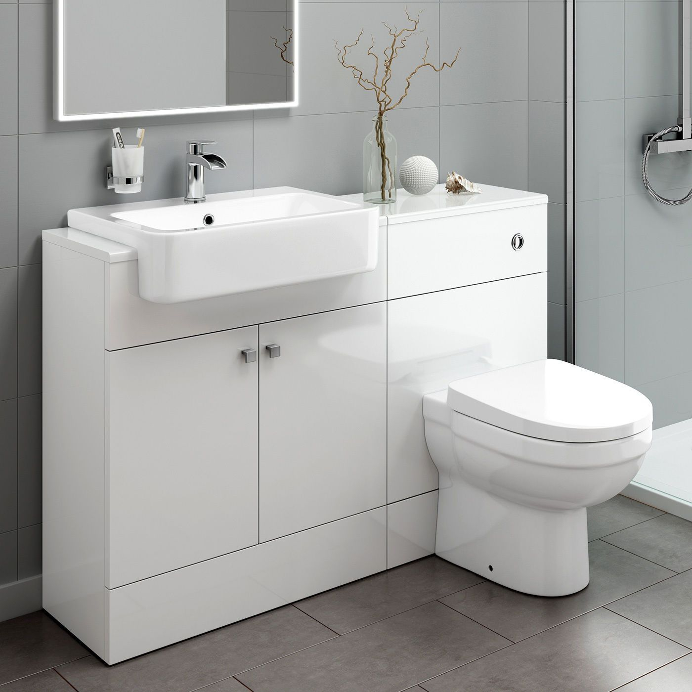 Combined Vanity Storage Unit With Basin And Back To Wall Toilet 1160 intended for proportions 1400 X 1400