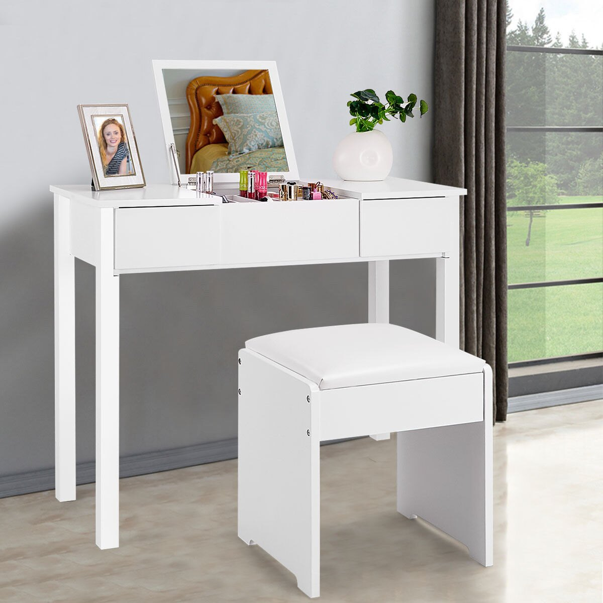 Costway Costway White Vanity Dressing Table Set Mirrored Bathroom for proportions 1200 X 1200