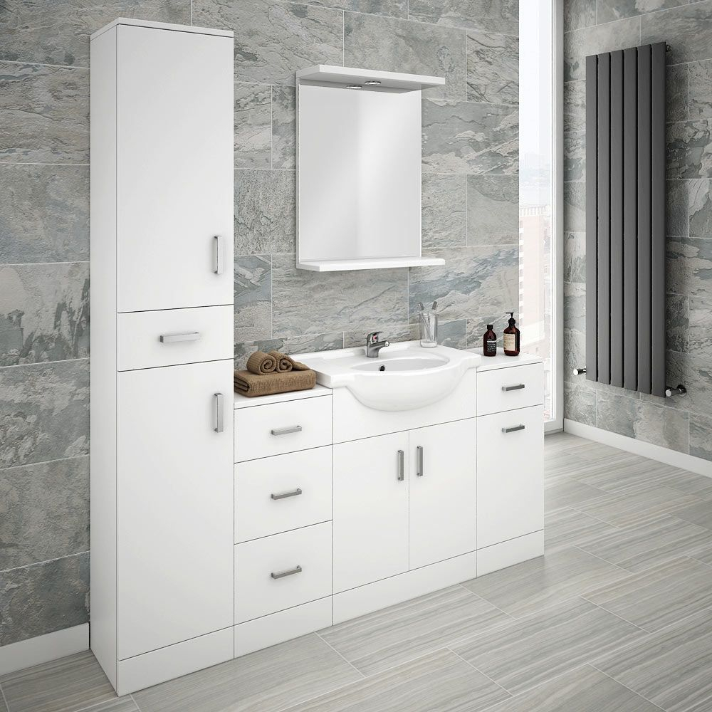 Cove Bathroom Furniture Pack 5 Piece White Gloss In 2019 inside proportions 1000 X 1000