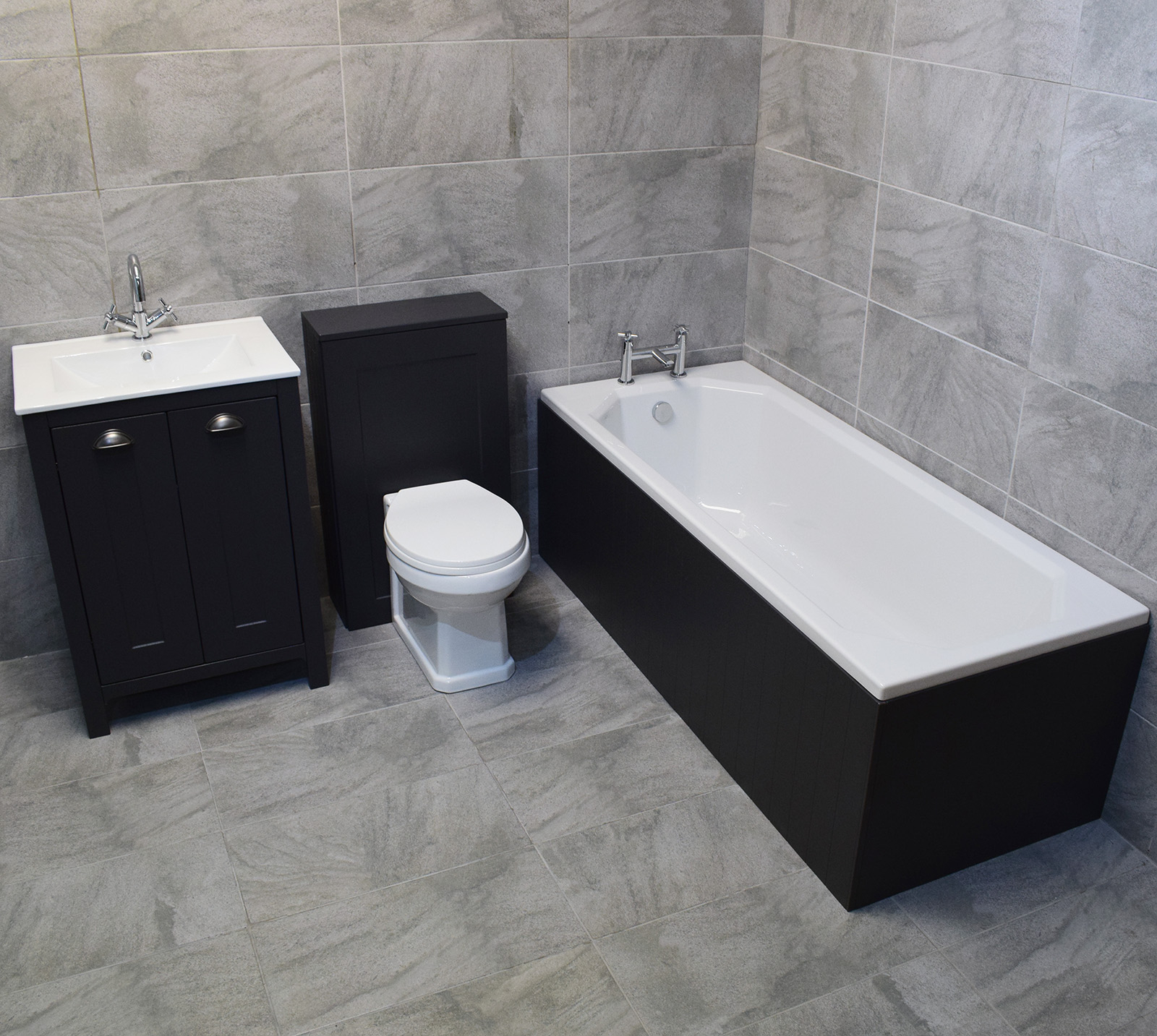Der Dark Grey Bathroom Furniture Suite Sink Storage Unit Toilet in size 1600 X 1433
