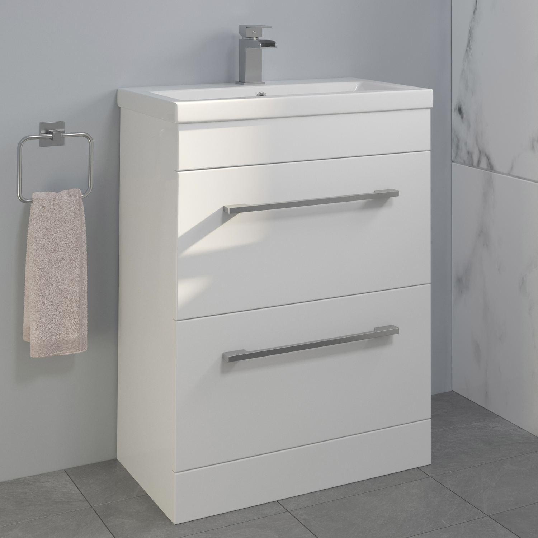 Details About 600mm Bathroom Vanity Unit Basin Drawer Storage Cabinet Furniture Gloss White regarding sizing 1500 X 1500