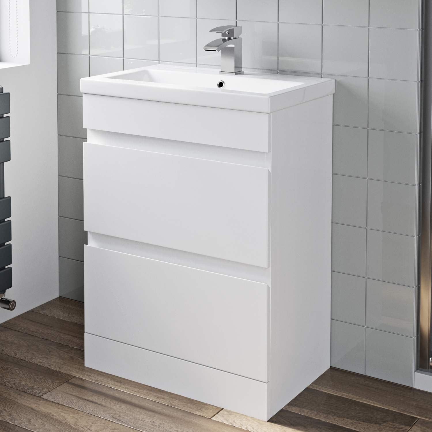 Details About 600mm Bathroom Vanity Unit Basin Storage 2 Drawer Cabinet Furniture White Gloss for measurements 1499 X 1500