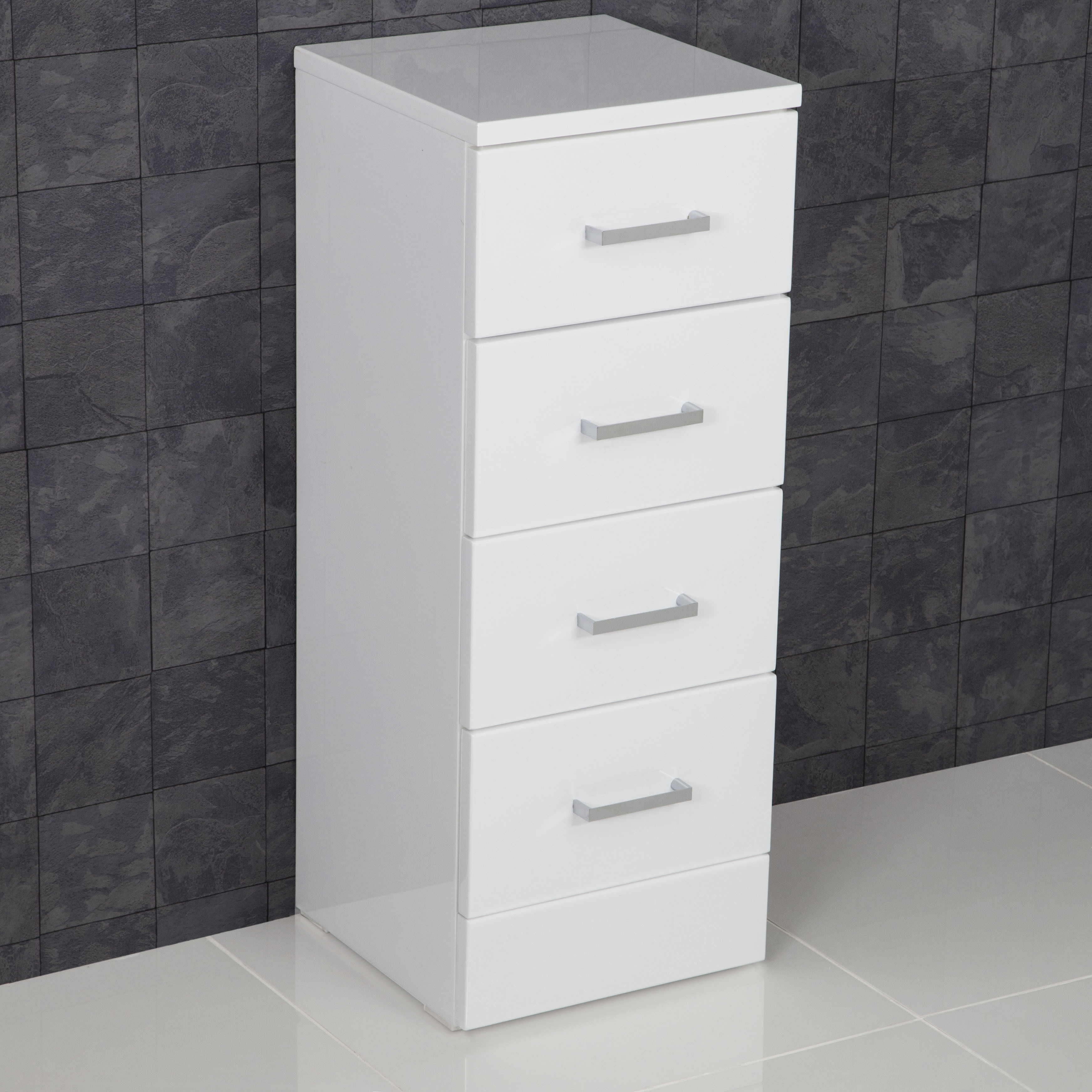Details About Bathroom 300 X 330 4 Drawer Unit Modern Furniture Cabinet White Gloss Storage inside measurements 3487 X 3487