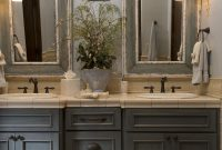 French Country Bathroom Gray Washed Cabinets Mirrors With Painted throughout size 980 X 1470