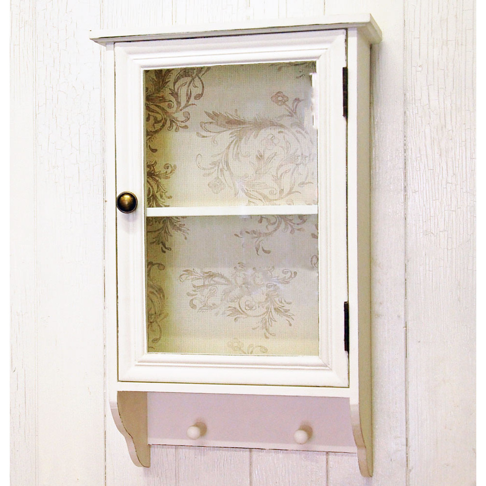 French Shab Chic Glazed White Wall Cabinet With Pegs within dimensions 1000 X 1000