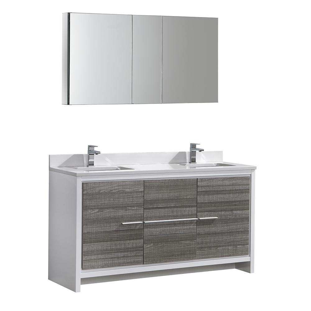 Fresca Allier Rio 60 In Modern Bathroom Vanity In Ash Gray With with size 1000 X 1000