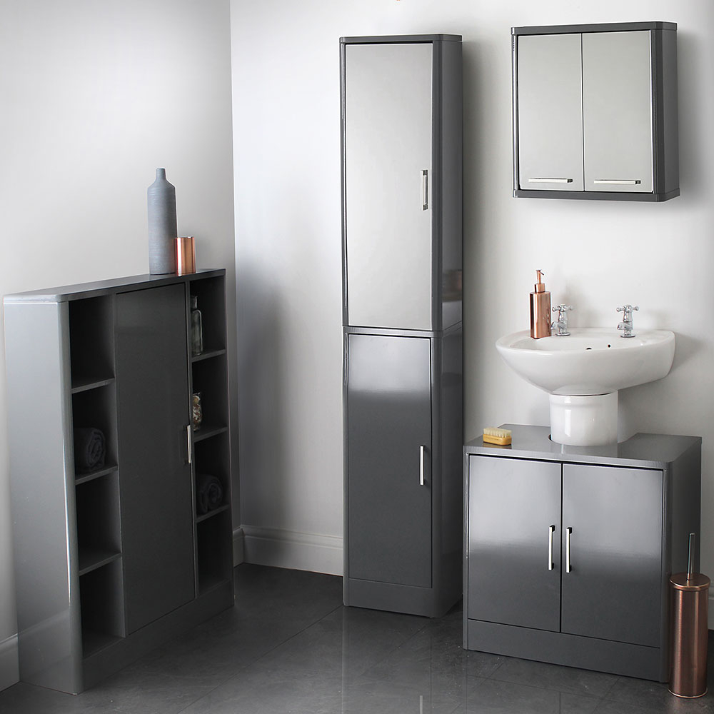 Grey Gloss Bathroom Furniture Suite House Homestyle with regard to dimensions 1000 X 1000