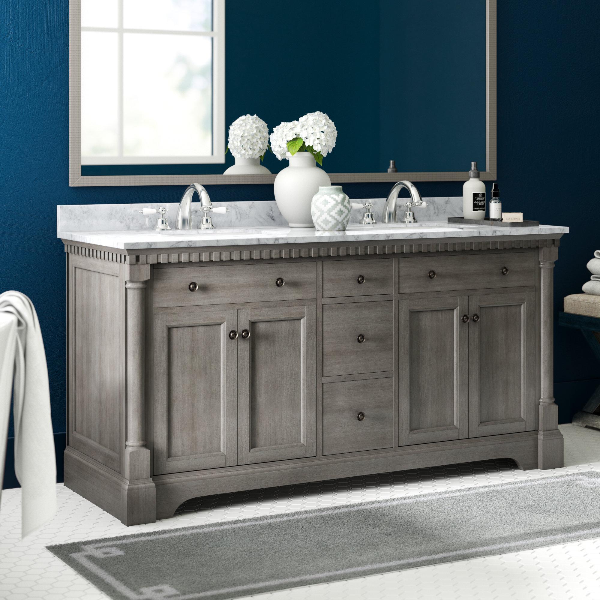 Greyleigh Seadrift 61 Double Bathroom Vanity Set Reviews Wayfair with size 2000 X 2000