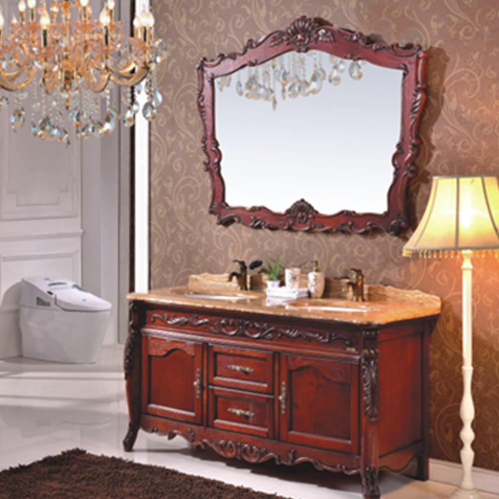 High Quality Classical Red Cherry Wood Antique Bathroom Furniture with dimensions 1000 X 1000