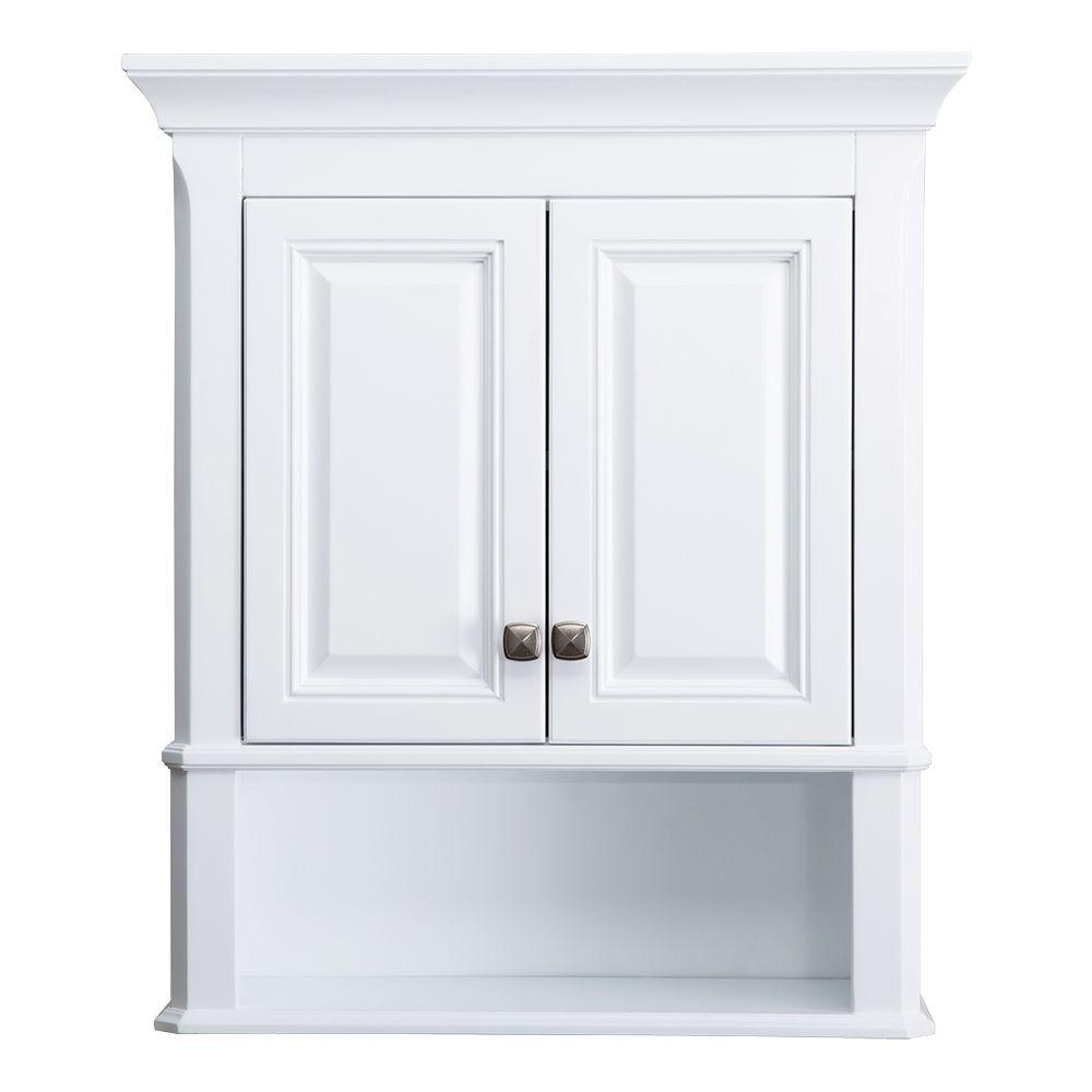 Home Decorators Collection Moorpark 24 In W Bathroom Storage Wall Cabinet In White inside proportions 1000 X 1000