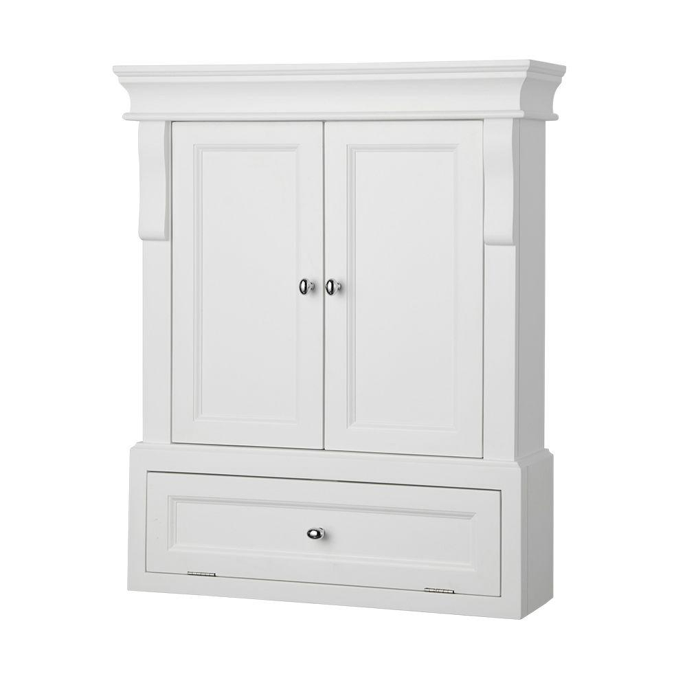 Home Decorators Collection Naples 26 12 In W X 32 34 In H X 8 In D Bathroom Storage Wall Cabinet In White for proportions 1000 X 1000