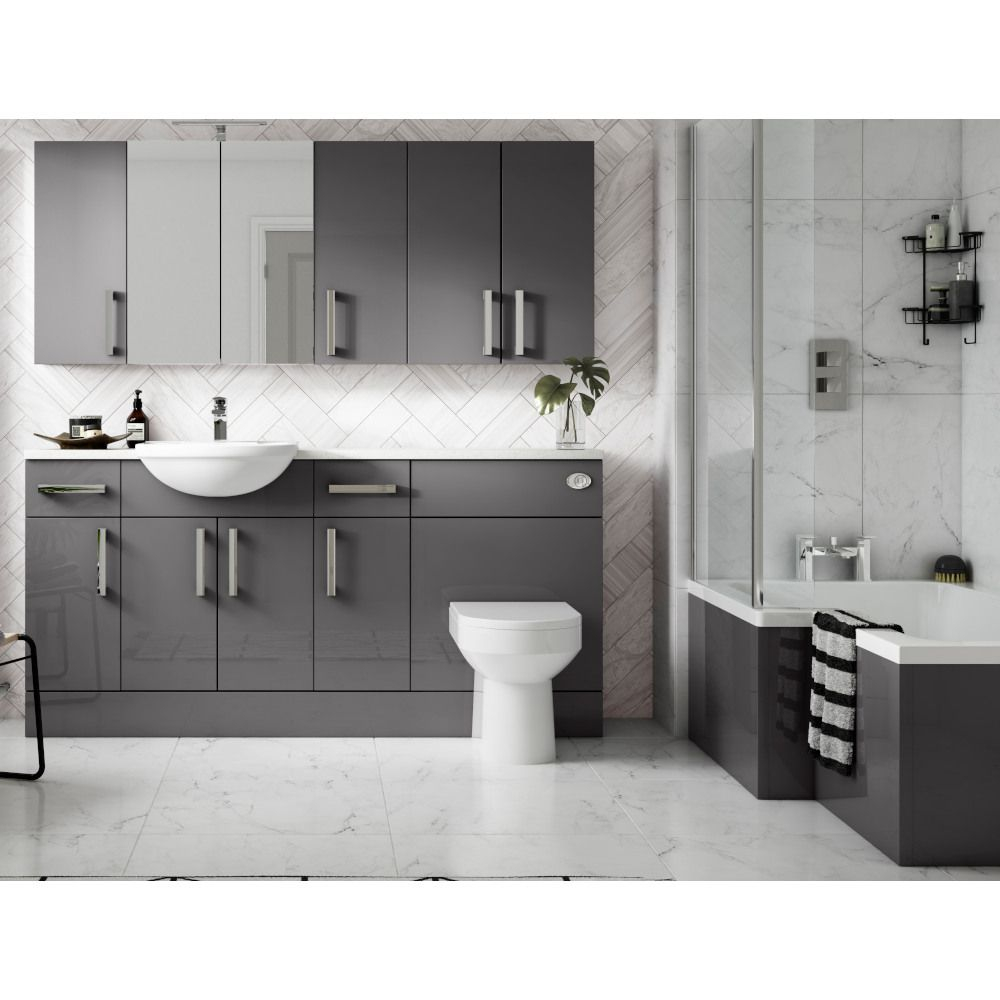Hudson Reed Fusion Accessories Gloss Grey 500mm Wall Unit intended for dimensions 1000 X 1000