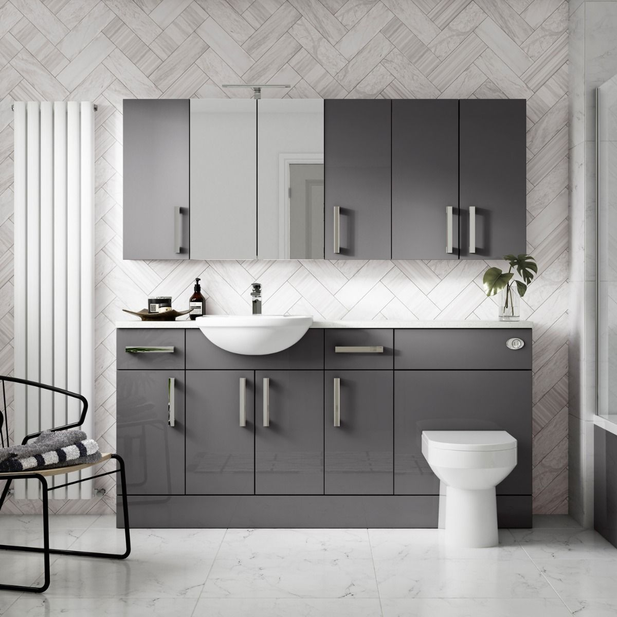 Hudson Reed Fusion Gloss Grey Double Mirrored Bathroom Cabinet for measurements 1200 X 1200