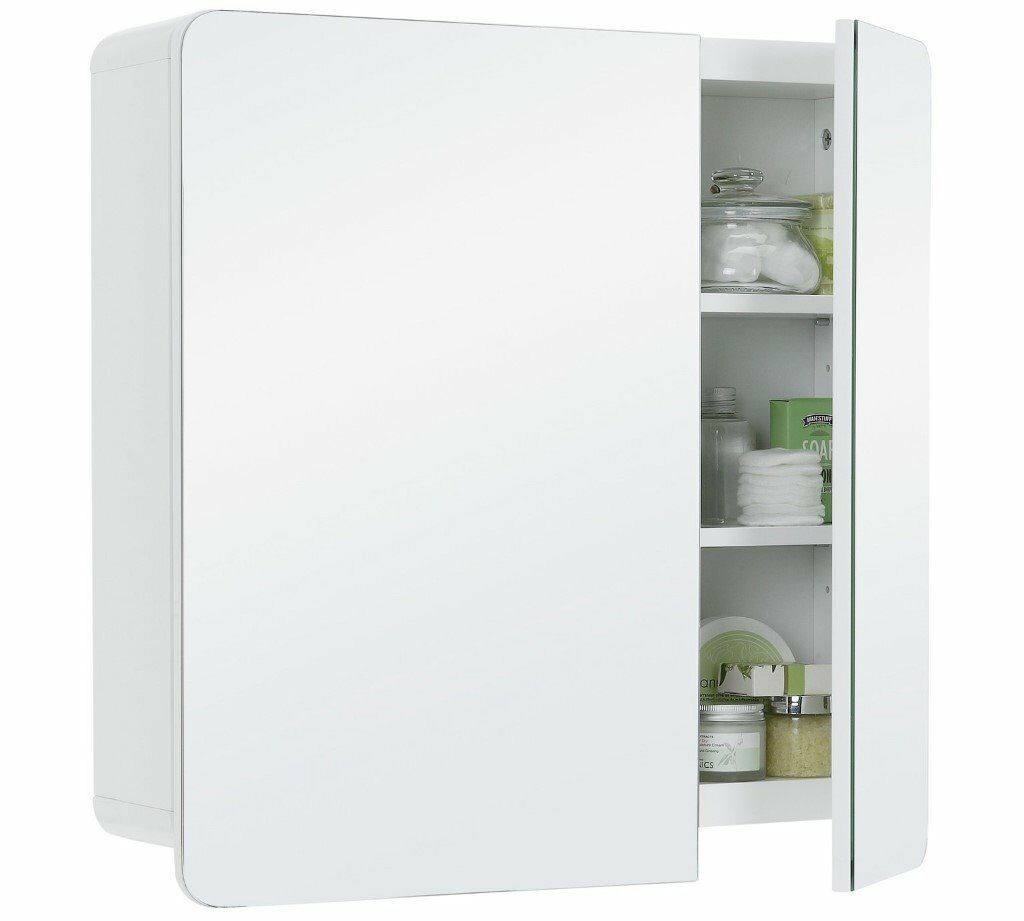 Hygena Curve 2 Door Mirrored Bathroom Cabinet White In East intended for size 1024 X 921