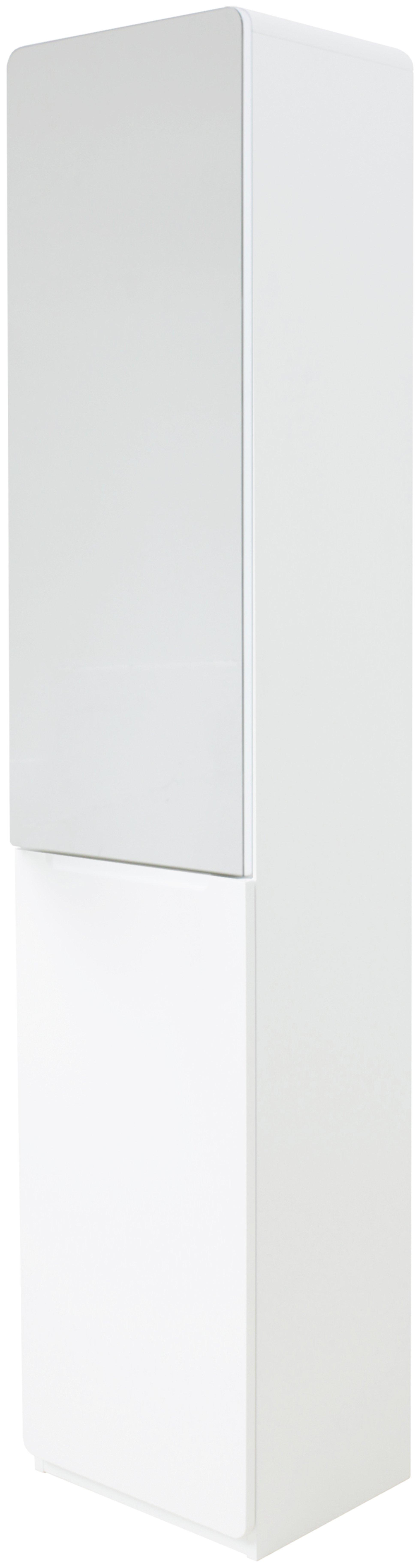 Hygena Curve Tall Bathroom Cabinet White Mysmallspace for measurements 1959 X 7309