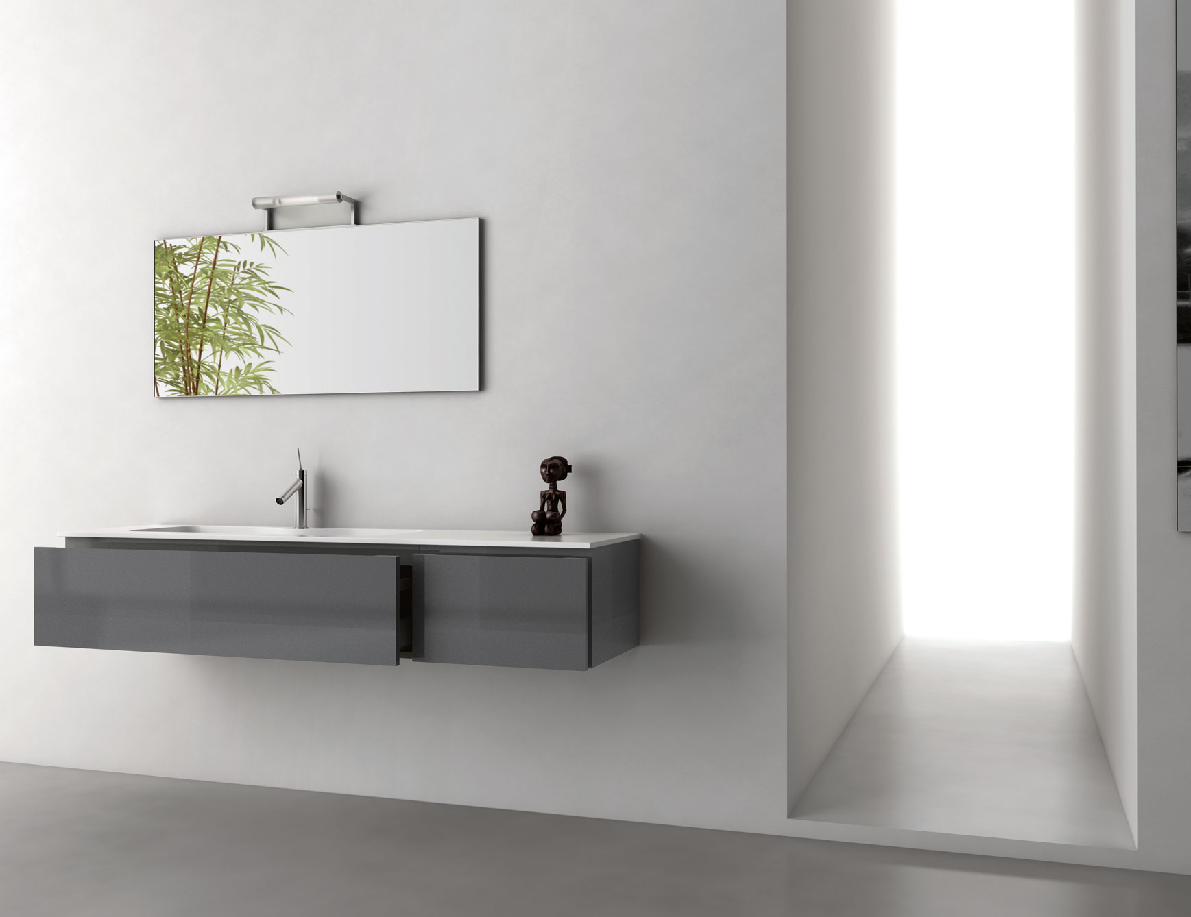Infinity In14 Modular Italian Bathroom Vanity In Grey Metal Lacquer pertaining to measurements 1737 X 1338