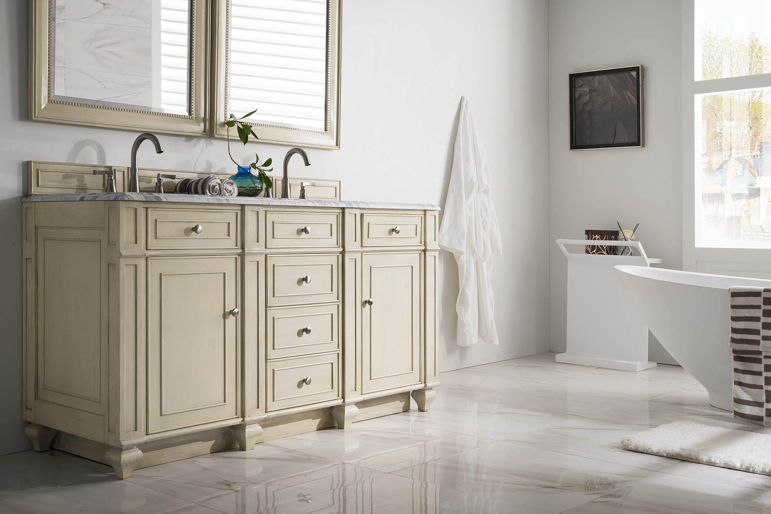 James Martin Furniture Bristol 60 Double Vanity Vintage Vanilla within size 2524 X 1684