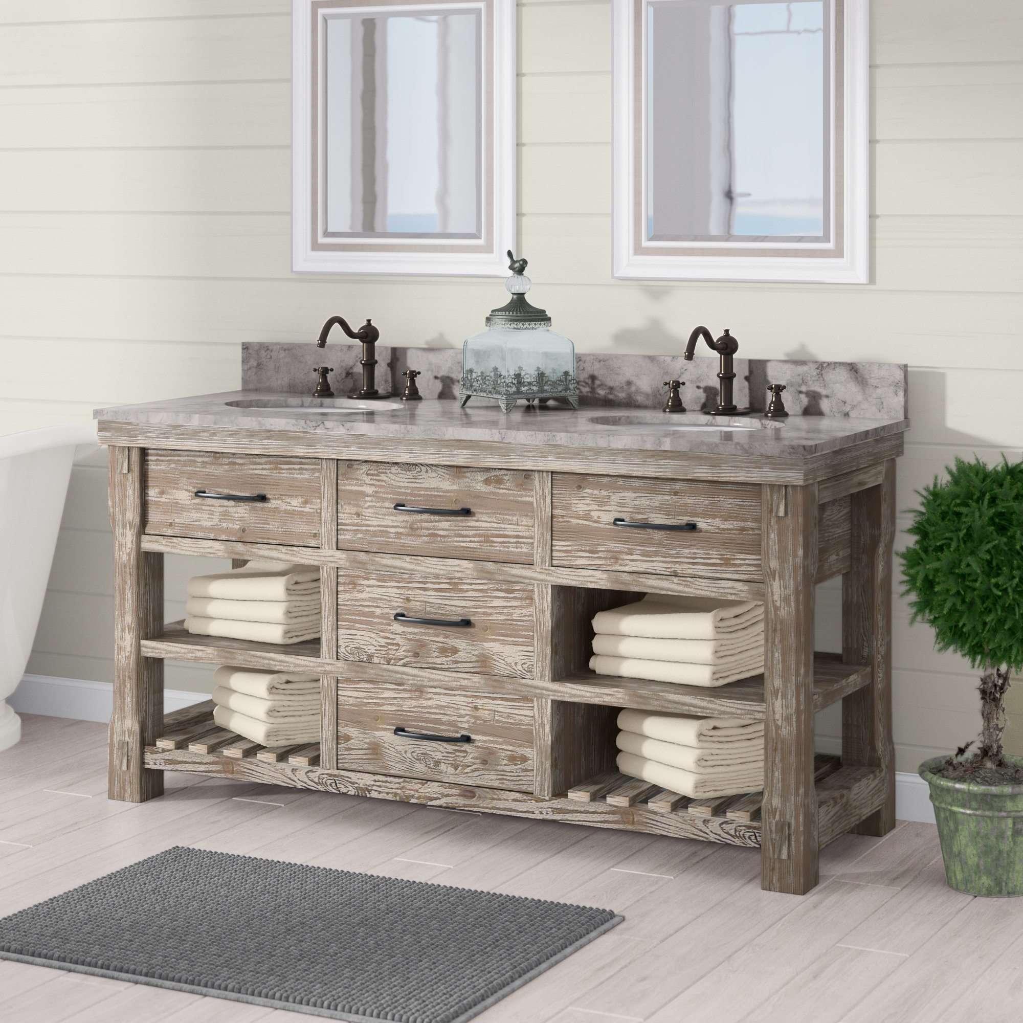 Laurel Foundry Modern Farmhouse Clemmie 61 Double Bathroom Vanity within sizing 2000 X 2000
