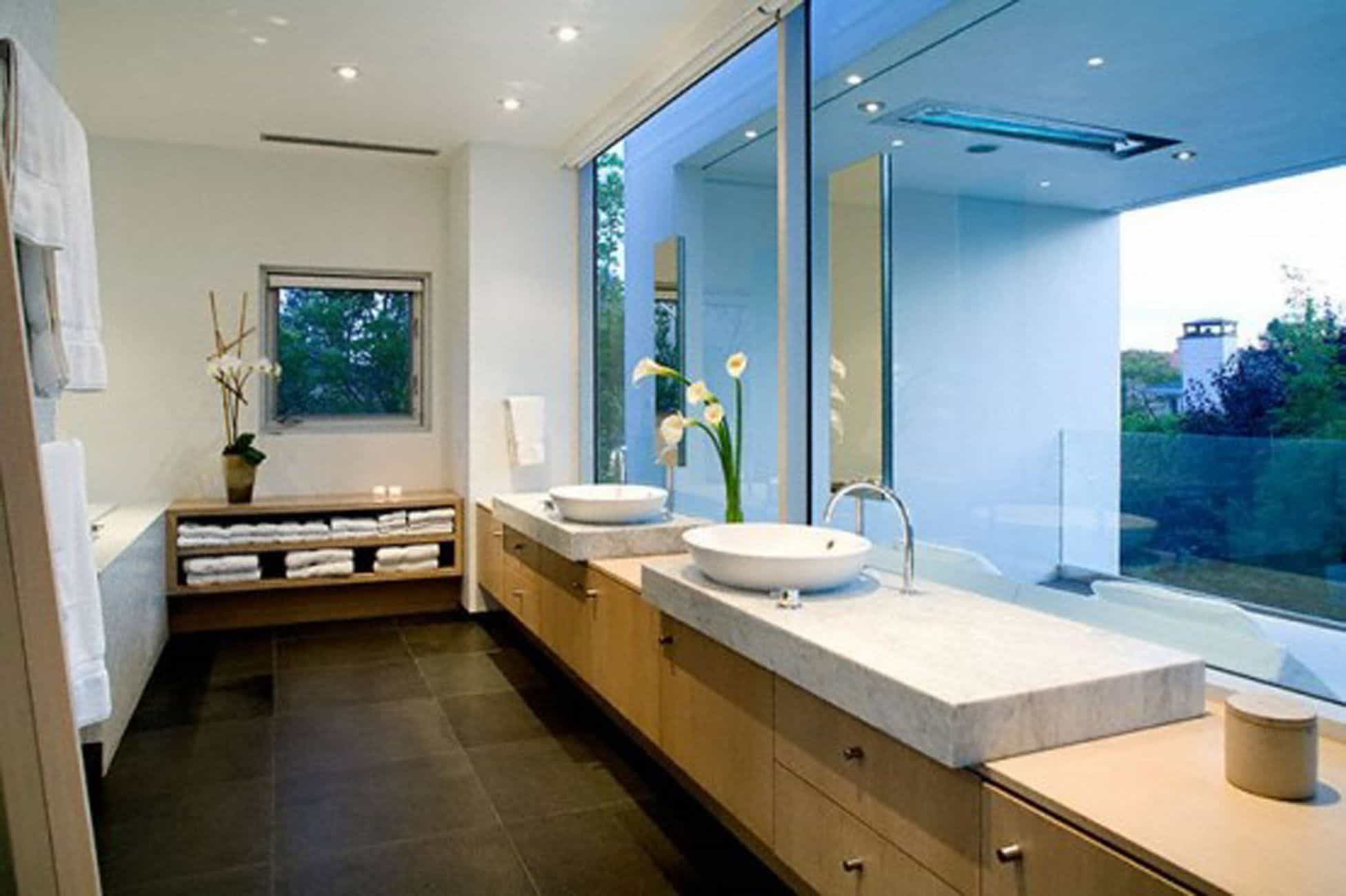 Long Contemporary Bathroom With Modern Furniture And Vessel Sink throughout proportions 1952 X 1300