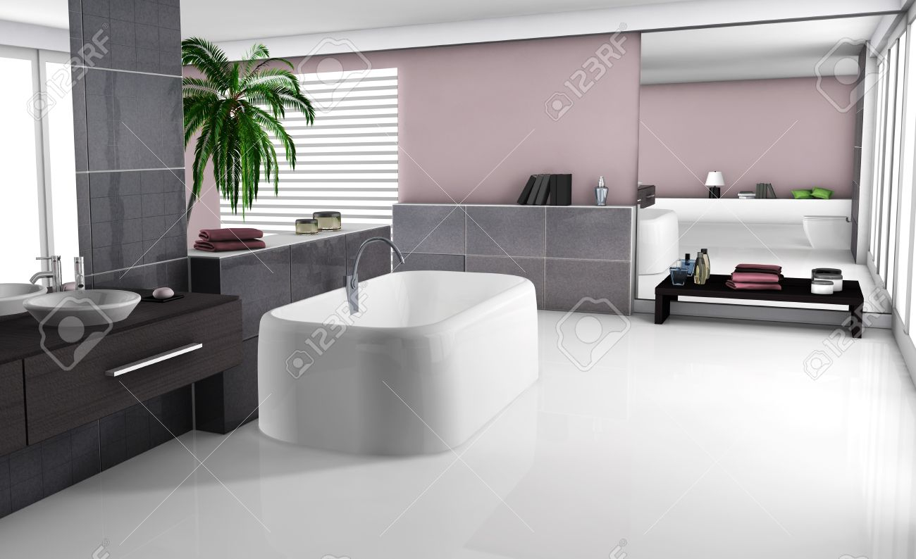 Modern Home Interior Of A Luxury Bathroom With Contemporary with size 1300 X 794