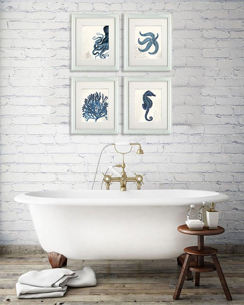 Nautical Bathroom Wall Art Set Of 4 Blue Nautical Art Prints Etsy for sizing 794 X 993