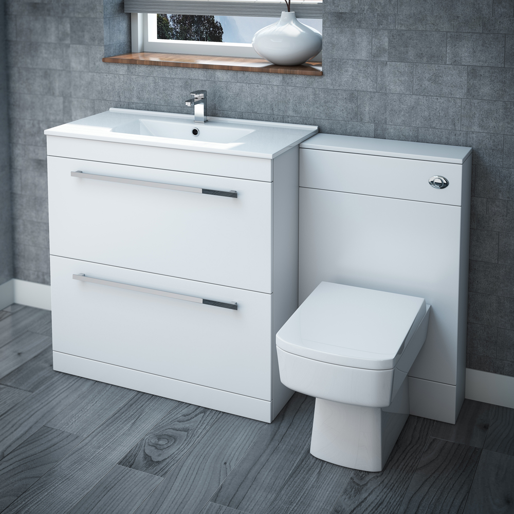 Nova High Gloss White Vanity Bathroom Suite W1300 X D400200mm At with dimensions 1000 X 1000