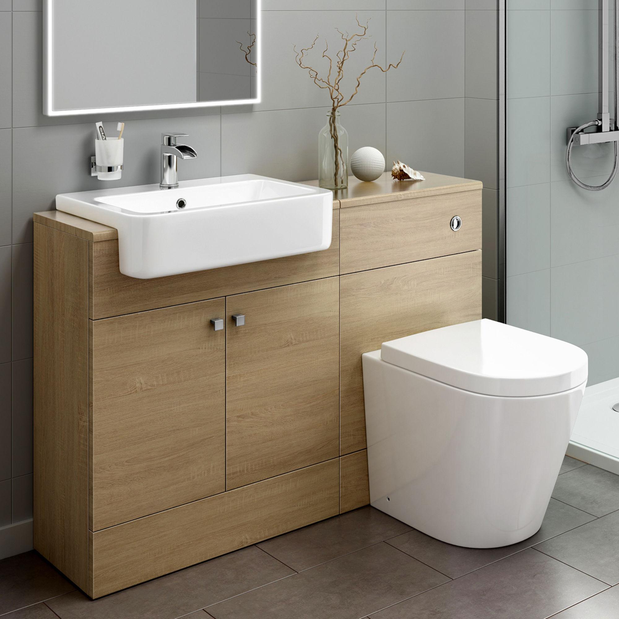 Oak Effect Combined Toilet Sink Unit 1160 Bathroom Unit Soak inside size 2000 X 2000