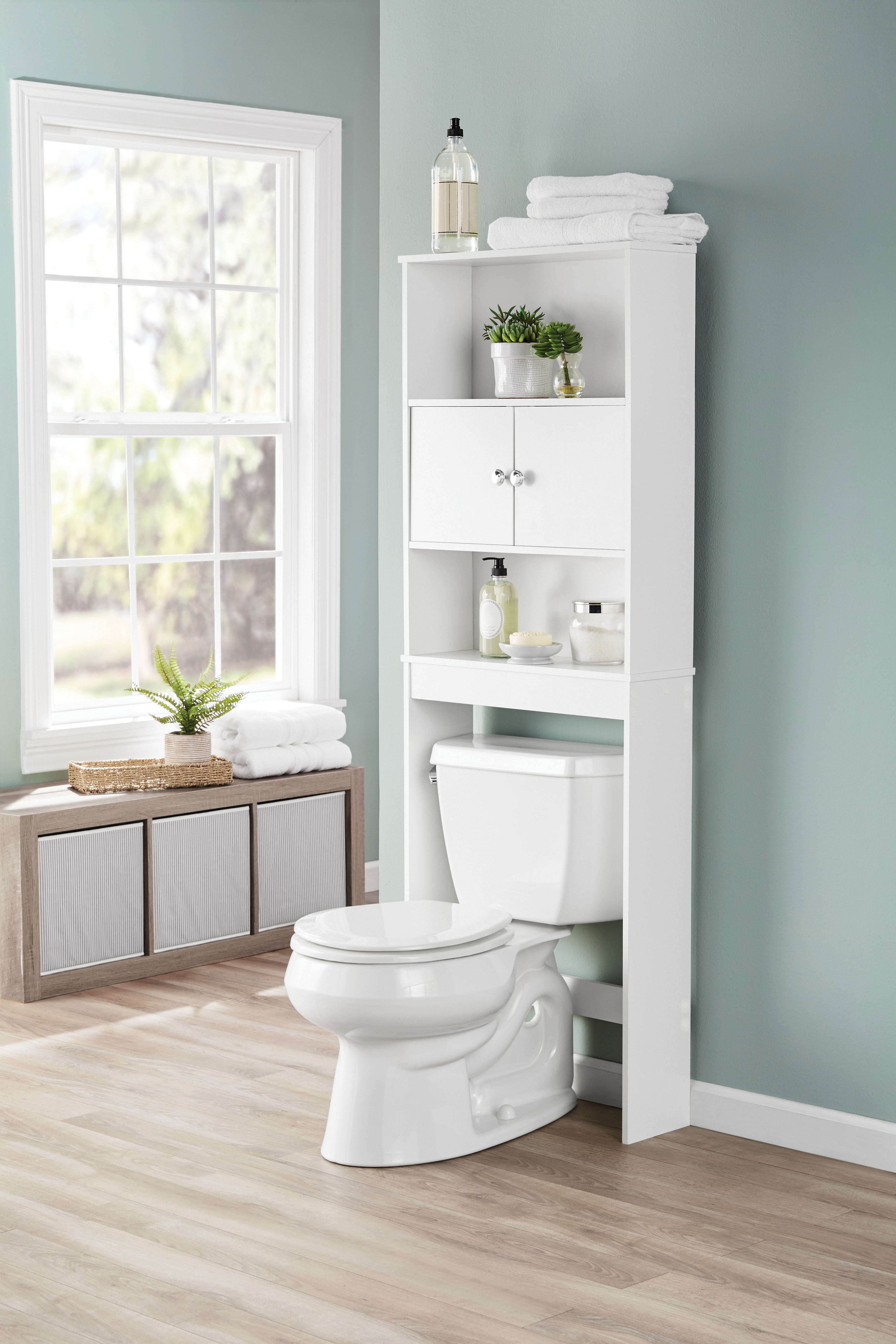 Over The Toilet Storage Organizer Wood Bathroom Space Saver Towel pertaining to dimensions 3717 X 5575