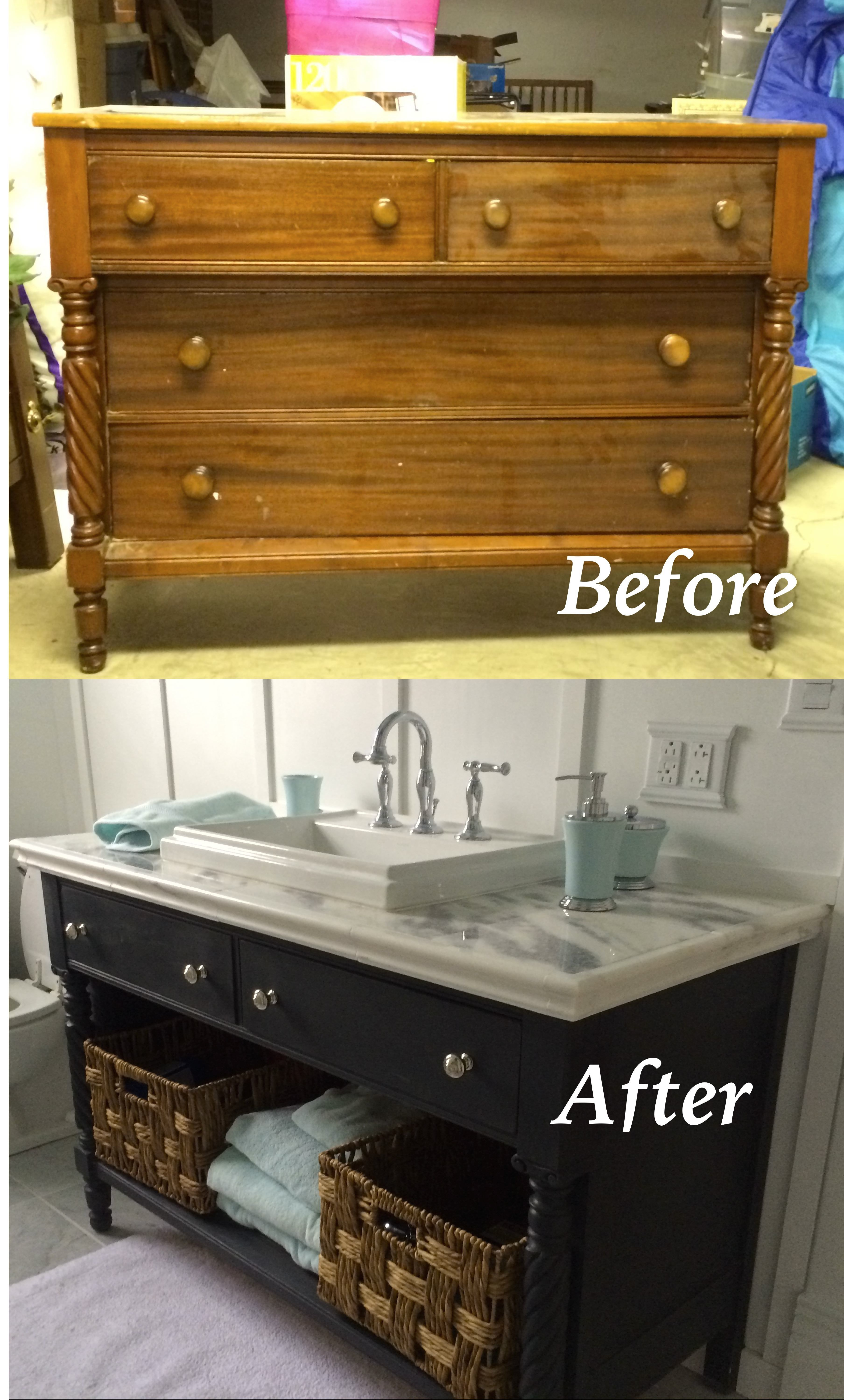 Re Do Of An Old Dresser Into A Bathroom Vanity Painted With Chalk within proportions 3616 X 6000