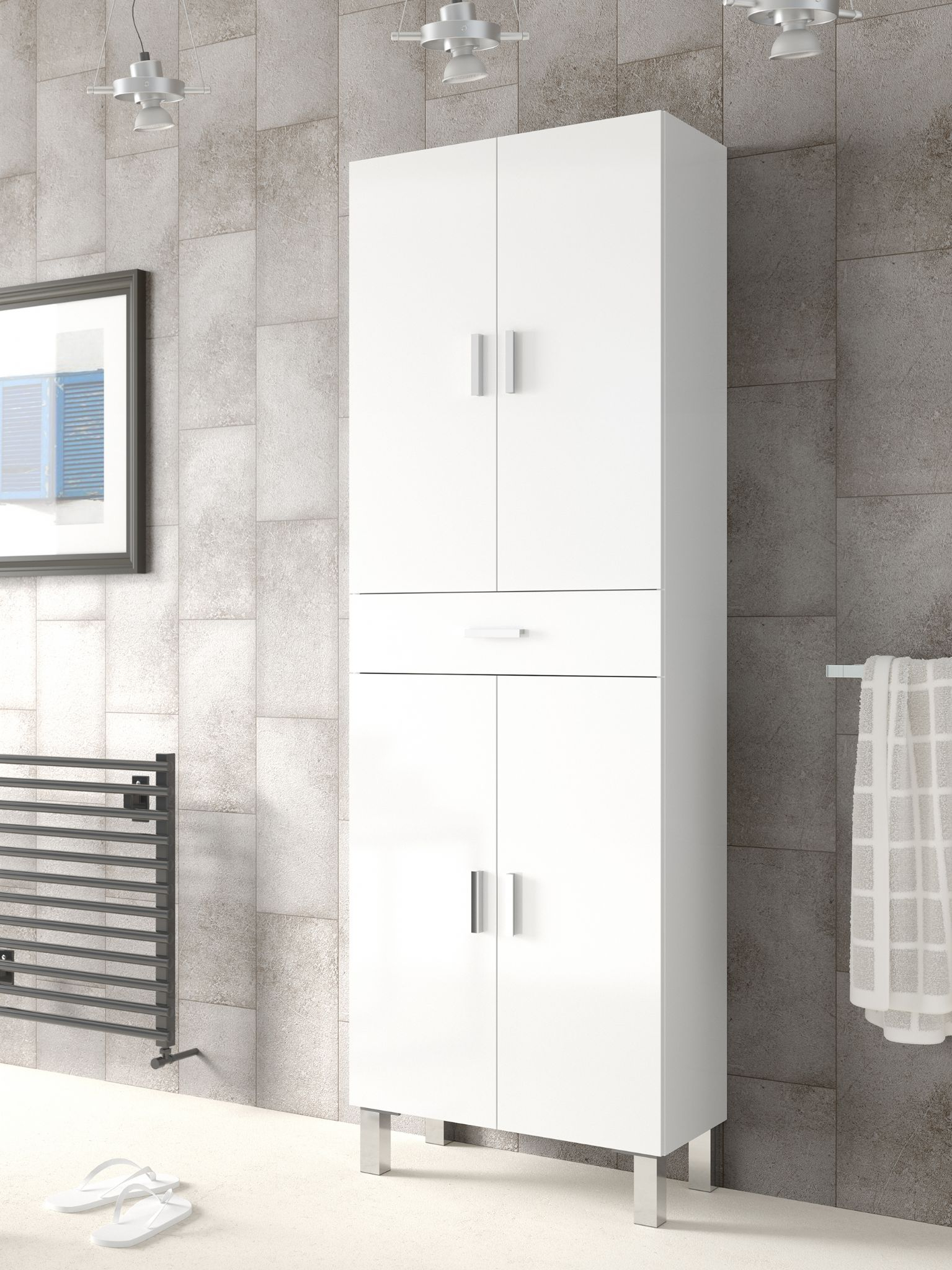 Rimini Tall Bathroom Cupboard White Gloss intended for dimensions 1535 X 2048