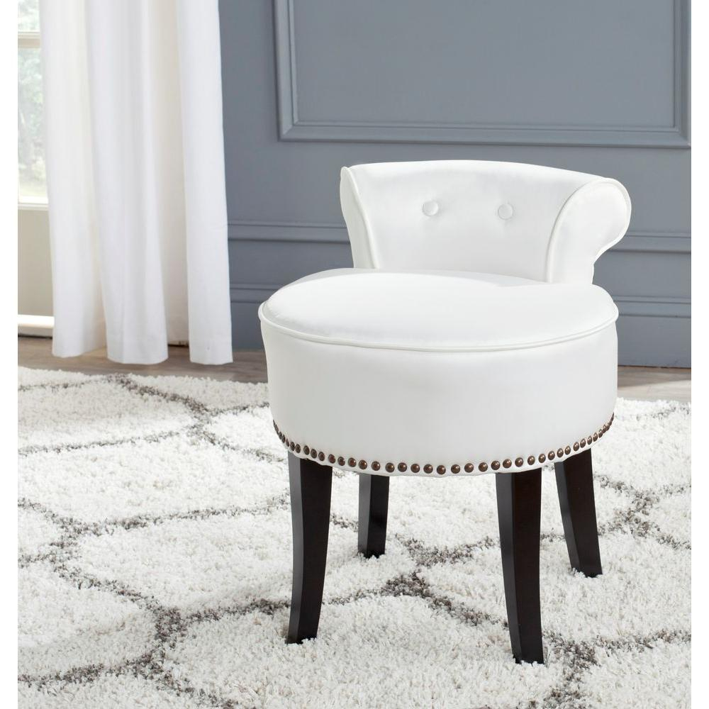 Safavieh Georgia White Poly Cotton Vanity Stool Mcr4546t The Home intended for sizing 1000 X 1000