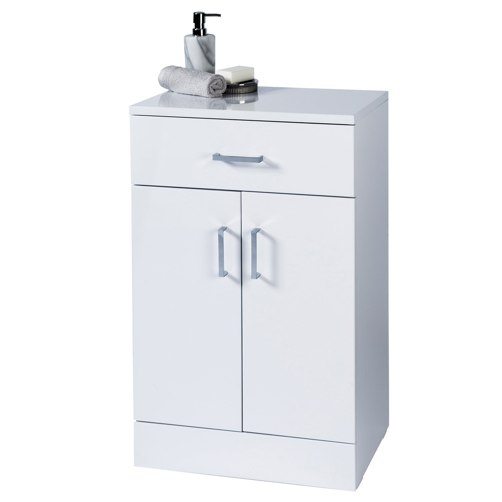 Salerno Freestanding White Gloss Bathroom Cabinet Showerdrape intended for proportions 1600 X 1600