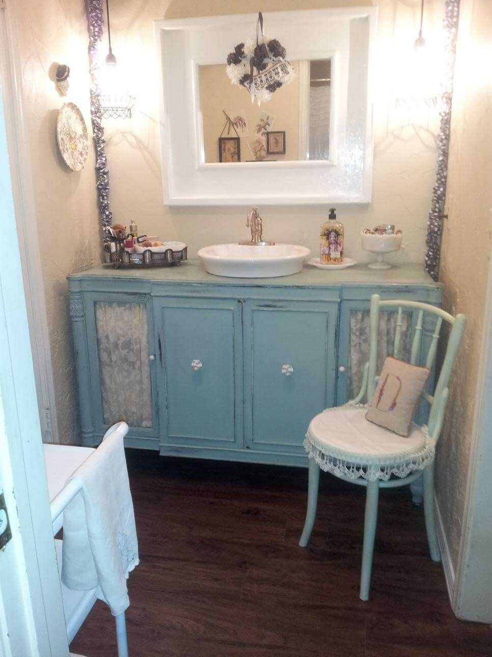 Shab Chic Bathroom Vanity With Lace Features Crafts Shab regarding dimensions 966 X 1288