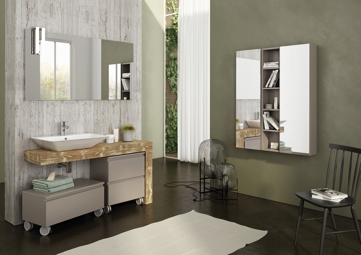 Single Vanity Unit In Wood With Mirror Idfdesign in measurements 1200 X 849