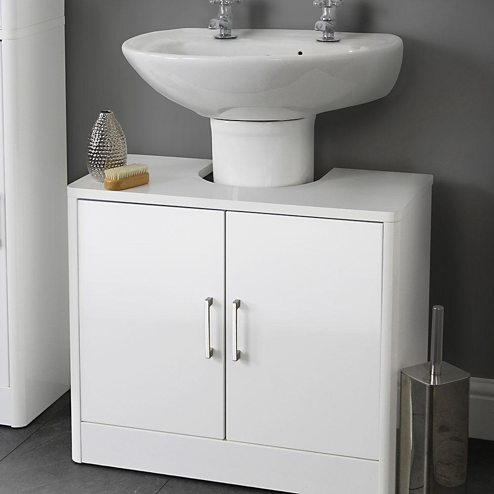 Sleek White Gloss Under Sink Basin Unit in size 1000 X 1000