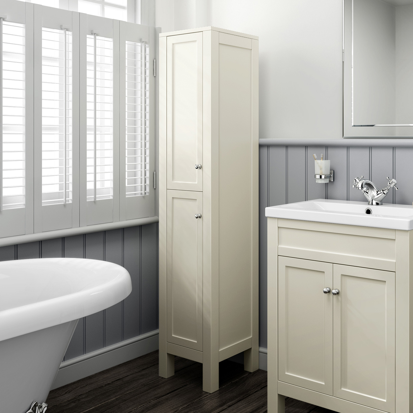 Traditional Clotted Cream Bathroom Vanity Unit Basin Furniture with regard to dimensions 1400 X 1400